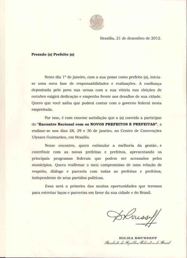 presidente dilma rousseff envia convite a todos os prefeitos para